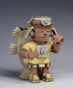WALTERS: Mixtec: Polychrome Standing Figure with Raised Hand 1200