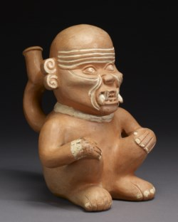 WALTERS: Moche: Seated Prisoner Stirrup Vessel 50