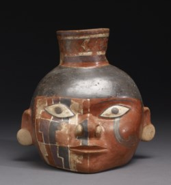 WALTERS: Huari: Head Pot with Painted Design 650