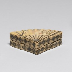 WALTERS: Follower of Ogata Kenzan (Japanese, 1663-1743): Incense Box in the Shape of a Folding Fan 1801