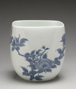 "WALTERS: Japanese: Fresh Water Jar (""Mizusashi"") with Branch of Roses 1713"