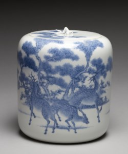 "WALTERS: Imamura Rokuro (Japanese): Fresh Water Jar (""Mizusashi"") with Deer under Maple Trees 1858"