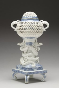 "WALTERS: Richiku (Japanese): Incense Burner (""Koro"") Supported by Entwined Dragons 1825"