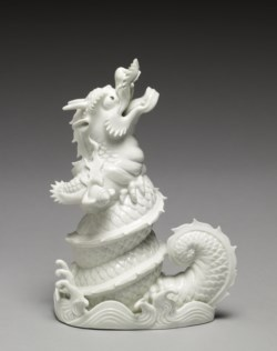 "WALTERS: Japanese: Figurine (""Okimono"") of a Dragon Emerging from Waves 1725"