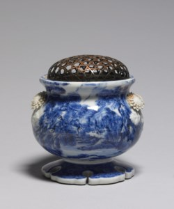 WALTERS: Attributed to Kawamoto Hansuke V (Japanese, 1831-1907): Incense Burner with Landscape Painting 1860