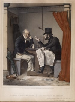 WALTERS: Michele Fanoli (Italian, 1807-1876): Politics in an Oyster House Dedicated To H.B. Latrobe Esq. 1851