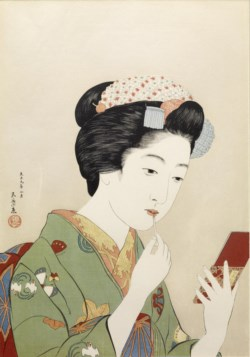 WALTERS: Hashiguchi Goyo (Japanese, 1st quarter 20th century): 紅筆持てる女 (Woman Applying Color to Her Lips) 1920