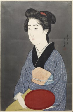 WALTERS: Hashiguchi Goyo (Japanese, 1st quarter 20th century): 盆持てる女 (Waitress with a Red Tray) 1920