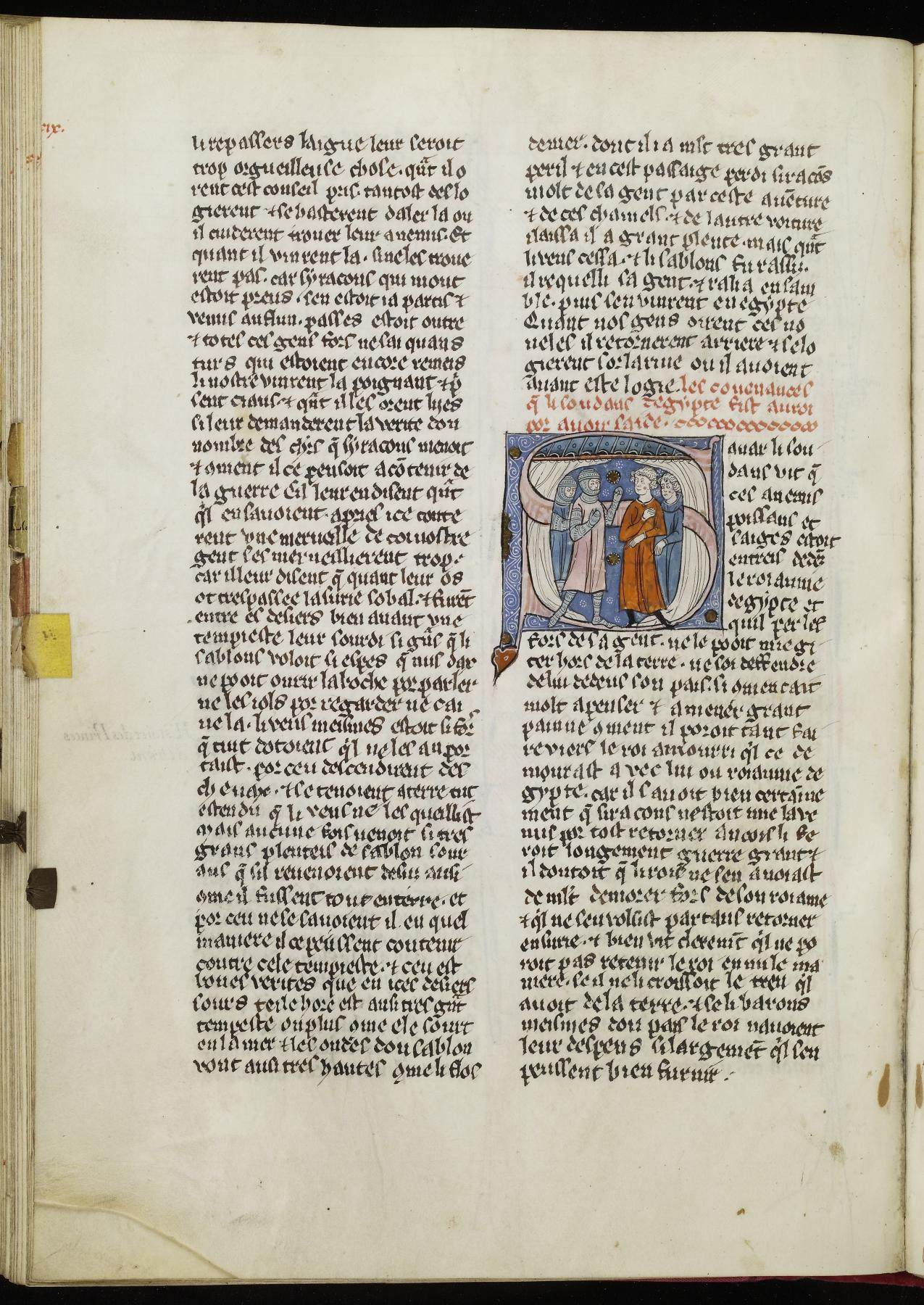 Initial S with Crusaders and Two Men Discussing the Renewal of the Treaty Between the Sultan of Egypt and the King of Jerusalem