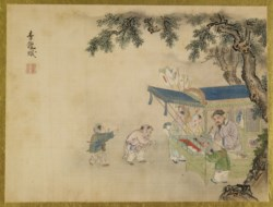 WALTERS: Isen'in Hoin Eishin (Japanese, 1775-1828): Children Watching a Fan Painter 1816