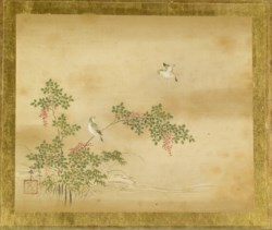 WALTERS: Kano Toshun (Japanese, 1747-1797): Green Birds and Nandina 1747