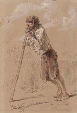 WALTERS: Paul Gavarni (French, 1804-1866): Peasant Leaning on a Stick 1859