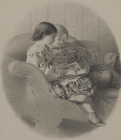 WALTERS: John George Brown (American, 1831-1913): Girl and Boy Reading on a Sofa 1859