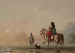 WALTERS: Alfred Jacob Miller (American, 1810-1874): Indian and His Squaw Fording a River 1858