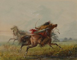 WALTERS: Alfred Jacob Miller (American, 1810-1874): Dodging an Arrow (Crow) 1858