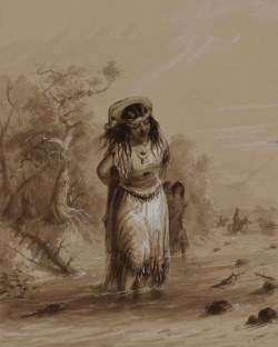 WALTERS: Alfred Jacob Miller (American, 1810-1874): Indian Girl with Papoose Crossing Stream 1858