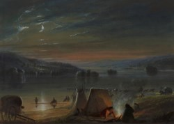 WALTERS: Alfred Jacob Miller (American, 1810-1874): Crossing the River: Moonlight 1858