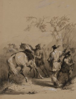 WALTERS: Alfred Jacob Miller (American, 1810-1874): Preparing for a Buffalo Hunt 1858