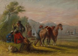 WALTERS: Alfred Jacob Miller (American, 1810-1874): Camp Receiving a Supply of Meat 1858