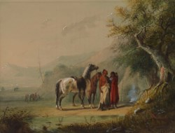WALTERS: Alfred Jacob Miller (American, 1810-1874): Camp Scene (Sioux) 1858