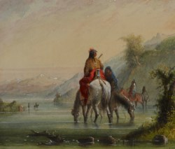 WALTERS: Alfred Jacob Miller (American, 1810-1874): Indian Girls Watering Horses (Eau Sucre River) 1858