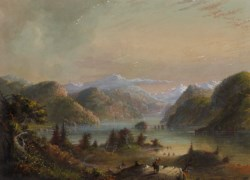 WALTERS: Alfred Jacob Miller (American, 1810-1874): Lake Scene with River Mountain 1858