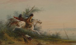 WALTERS: Alfred Jacob Miller (American, 1810-1874): Elk Swimming the Platte 1858