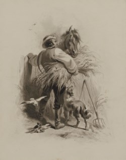 WALTERS: Felix Octavius Carr Darley (American, 1822-1888): Farmer with Horse, Dog and Pigeons 1824