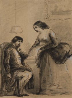 WALTERS: Alfred Jacob Miller (American, 1810-1874): Harry, Dear. Only See What a Nice Silk I Have Bought 1825