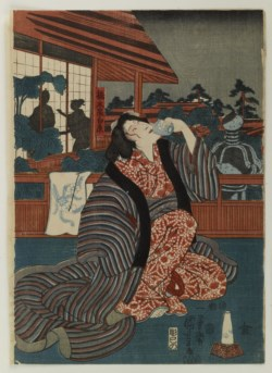 WALTERS: Utagawa Kuniyoshi (Japanese, 1798-1861): Figure Drinking on a Tavern Terrace at Night 1852