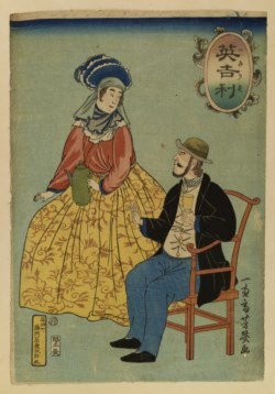 WALTERS: Yoshiiku (Japanese, 1833-1904): English Man and Woman 1861