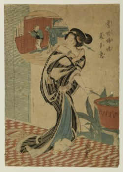 WALTERS: Eisen (Japanese, 1790-1848): A Courtesan with a Water Dipper on a Veranda 1790