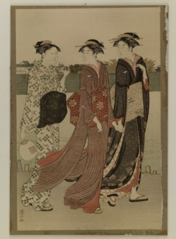WALTERS: Torii Kiyonaga (Japanese, 1725-1815): Reproduction: Actor and Two Women Walking by a River 1725