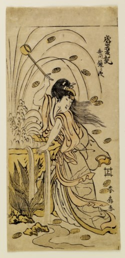 WALTERS: Katsukawa Shunsen (Japanese, 1762-1830): Woman Showered with Money From a Fountain 1778