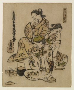 WALTERS: Masanobu (Japanese, 1686-1764): Three Geisha Enjoying a Snack 1698