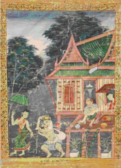 WALTERS: Thai: Vessantara Jataka, Chapter 5: The Brahmin Jujaka with His Wife Amittatapana 1875