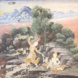 WALTERS: Thai: Vessantara Jataka, Chapter 4: Vessantara, Maddi, Jali, and Kanha Enter the Forest 1850